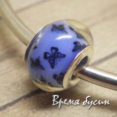 Гладкие акриловые бусины в стиле Пандора. Синие с бабочками