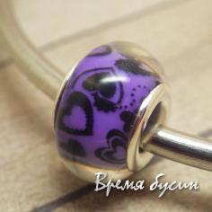 Гладкие акриловые бусины в стиле Пандора. Фиолетовые с сердечками