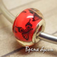 Гладкие акриловые бусины в стиле Пандора. Красные с бабочками
