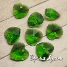 """Подвеска из стекла """"Сердце"""", 10 мм, цвет зеленый"""