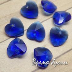 """Подвеска из стекла """"Сердце"""", 10 мм, цвет синий"""