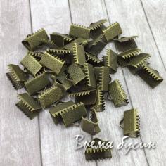 Зажим для ленты, 8х10 мм, цвет бронза (1 шт.)