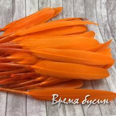 Перо гуся, длина 10-13 см, цвет оранжевый (1 шт.)
