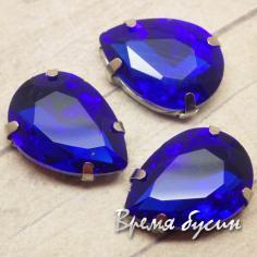Стразы из стекла в цапах под серебро. Капля 13х18 мм DARK BLUE