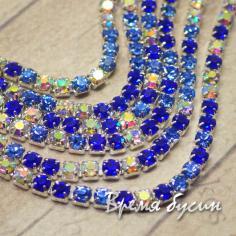 Стразовая плотная цепь SS6. Синий АБ в серебре (10 см.)