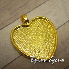 Основа для кабошона Сердце 25 мм, цвет золото