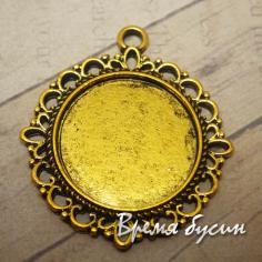 Основа для кабошона 20 мм, цвет золото