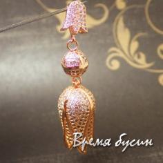 Кулон-концевик из латуни с розовой позолотой и фианитами