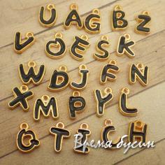 Подвеска-буква металлическая с эмалью, черная в золоте (1 шт.)