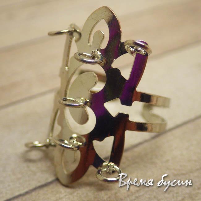 Основа для кольца с петлями. Цвет серебро
