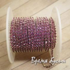 Стразовая плотная цепь SS6. Сливовый в серебре (10 см.)