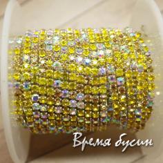 Стразовая плотная цепь SS6. Лимонный микс в серебре (10 см.)