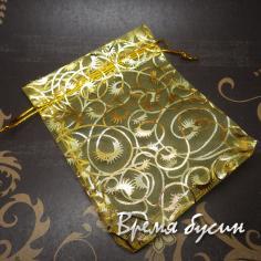Мешочки из органзы 9х12 см. Желтые с золотым рисунком