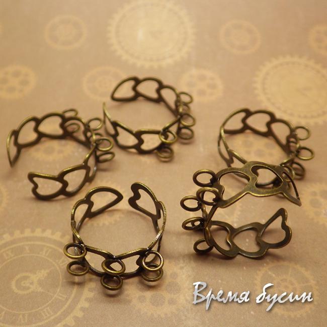 Основа для кольца из сердечек. Цвет бронза