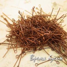 Пины с петелькой, 30 мм, цв. медь (10 гр.)