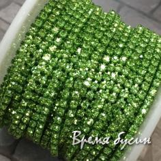 Плотная стразовая цепь SS6, цв. салатовый, цвет цепочки под цвет страз (10 см)
