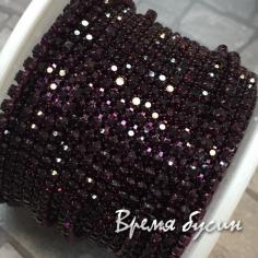 Плотная стразовая цепь SS6, цв. фиолетовый, цвет цепочки под цвет страз (10 см)