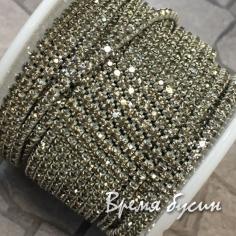 Плотная стразовая цепь SS6, цв. дымчатый, цвет цепочки серебро (10 см)