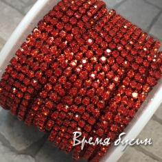 Плотная стразовая цепь SS6, цв. красный, цвет цепочки под цвет страз (10 см)