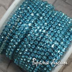 Плотная стразовая цепь SS6, цв. бирюзовый, цвет цепочки под цвет страз (10 см)