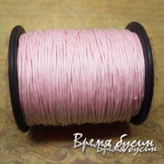 Шнур вощеный 1 мм, цвет БЛЕДНО-РОЗОВЫЙ (100 м)