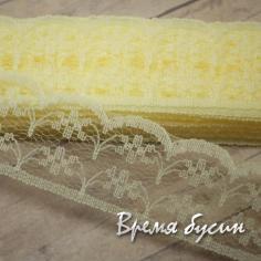 Лента кружевная, ширина 23 мм, цвет лимонный (1 ярд)