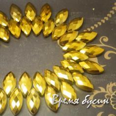 """Бусины бриолетты из граненого стекла """"Лепесток"""", 12х25 мм, цвет золото"""