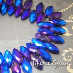 """Бусины бриолетты из граненого стекла """"Лепесток"""", 12х25 мм, цвет синий"""