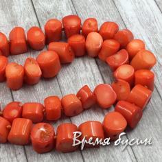 Коралл оранжевый, бусины пенечки