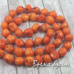 Коралл оранжевый, округлые бусины