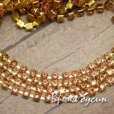 Стразовая плотная цепь SS6. Персиковый в золоте (10 см.)