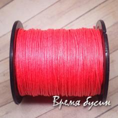Шнур вощеный 1 мм, цвет ЛОСОСЕВЫЙ (1 м.)