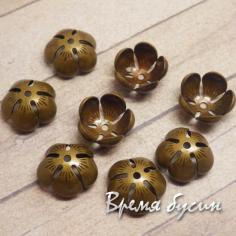 """Шапочки для бусин """"Кувшинка"""" 6х13 мм, латунь с покрытием под бронзу"""