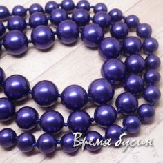 Жемчуг майорка, шарик гладкий 8-10-12 мм, цвет синий