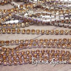 Стразовая плотная цепь SS6. Дымчатый топаз в серебре (10 см.)