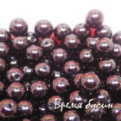 Бусины под жемчуг стекло 6 мм, цв. черный (1 шт.)