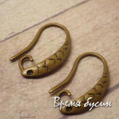 Швензы-крючки, 13х17 мм, цв. БРОНЗА (1 пара)