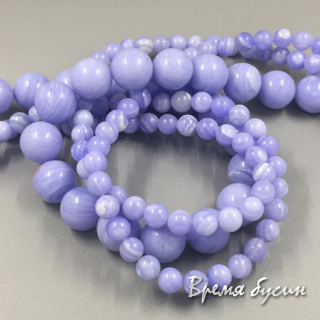 Агат голубой имитация, шарик гладкий 4-6-8-10-12 мм (1 шт.)