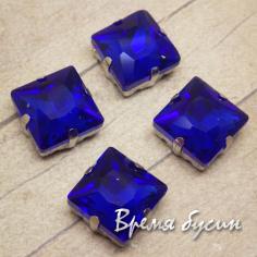 Стразы из стекла в цапах под серебро. Квадрат 12 мм DARK BLUE (1 шт.)