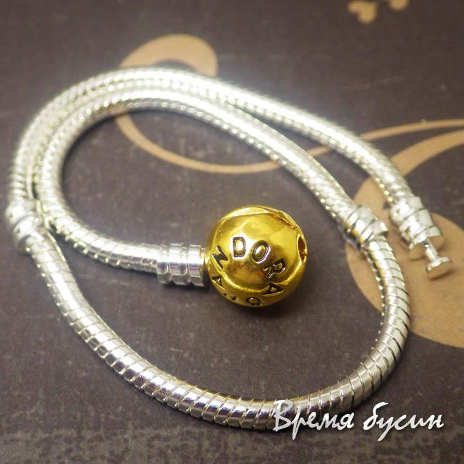 Браслет в стиле пандора, цвет серебро, с круглой золотой бусинкой, 21 см