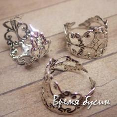 Основа для кольца ажурная, цвет серебро (1 шт.)