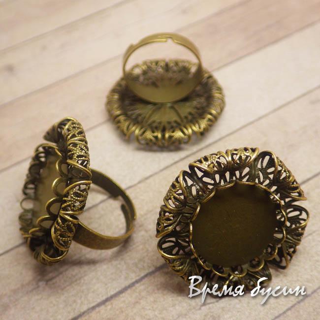 Основа для кольца с площадкой под кабошон