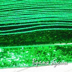 Лента бархатная с люрексом, 10 мм. ЗЕЛЕНЫЙ (1 ярд)