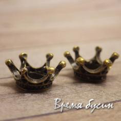 """Бусина металлическая """"Корона"""", цвет бронза (1 шт.)"""