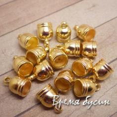 Колпачок-концевик для шнура акриловый. Золото 8 мм (10 шт.)