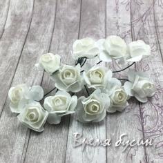 Цветы из бумаги, букетик роз, 10 мм цв. БЕЛЫЙ (12 шт.)