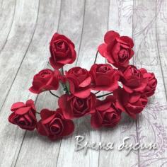 Цветы из бумаги, букетик роз, 10 мм цв. КРАСНЫЙ (12 шт.)