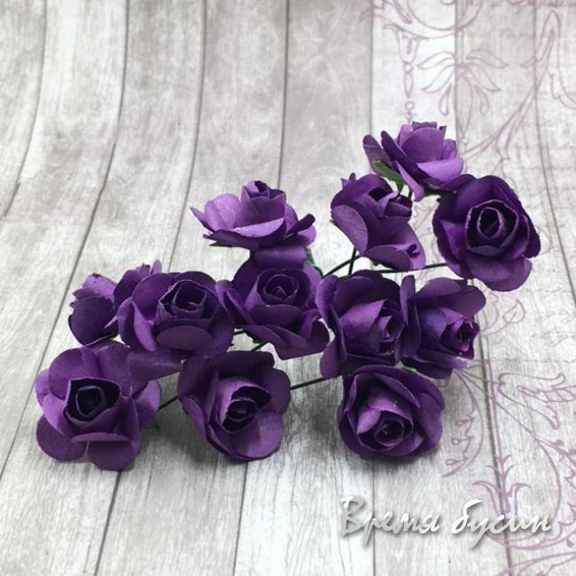 Цветы из бумаги, букетик роз, 10 мм цв. ФИОЛЕТОВЫЙ (12 шт.)