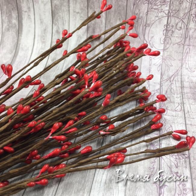 Веточка с почками, 40 см цв. красный (1 шт.)