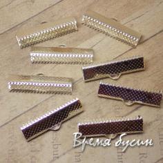 Зажим для лент широкий, цвет серебро, 8х25 мм (1 шт.)
